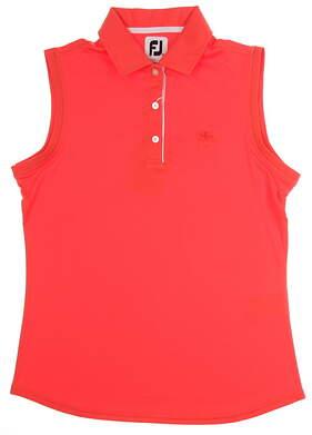 New W/ Logo Womens Footjoy Solid Interlock Sleeveless Polo Medium M Papaya MSRP $65 27095