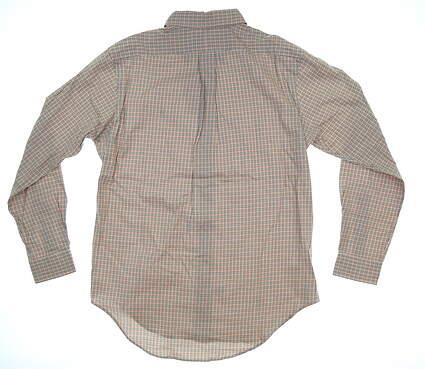New Mens Ralph Lauren Plaid Button Up Medium M Grey/Green/Orange MSRP $90
