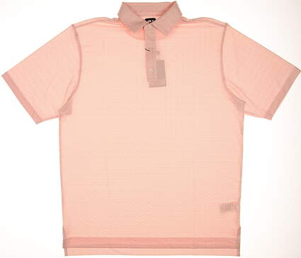 New Mens Footjoy Lisle Granite Print Golf Polo Large L White/Tangerine MSRP $75 25685
