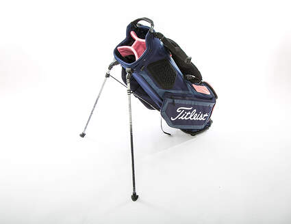 New Titleist Players 4 Stand Bag Navy Blue/Pink With Rain Cover