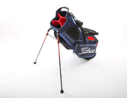 New Titleist Players 4 Stand Bag Navy Blue/Red With Rain Cover