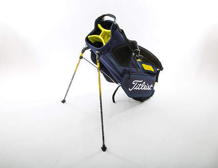 New Titleist Players 4 Stand Bag Navy Blue/Yellow With Rain Cover