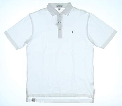 New W/ Logo Mens Peter Millar Golf Polo Small S White MSRP $89 MS17K50S
