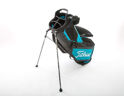 New Titleist Players 5 Stand Bag Black/Breeze/Red With Rain Cover