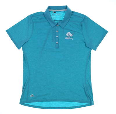 New W/ Logo Womens Adidas Heather Golf Polo Small S Blue MSRP $55 AF2780