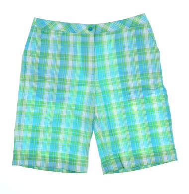 New Womens EP Pro St. John Golf Shorts Size 12 Turquoise Multi MSRP $78 8641BD