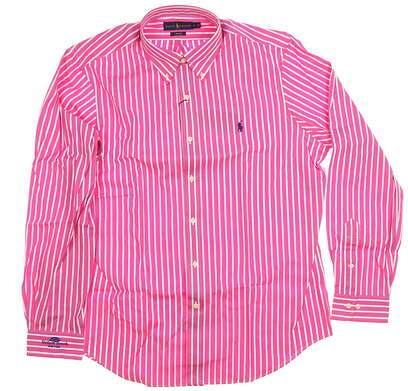 New W/ Logo Mens Ralph Lauren Classics Button Up Large L Pink/White MSRP $149 781540595003