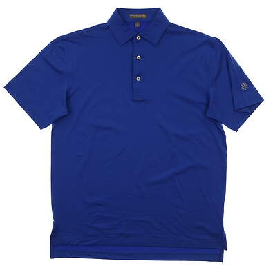 New W/ Logo Mens Peter Millar Summer Comfort Golf Polo Small S Blue MSRP $85