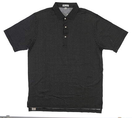New Mens Peter Millar Golf Polo Large L Black/White MSRP $99 MF17K07S