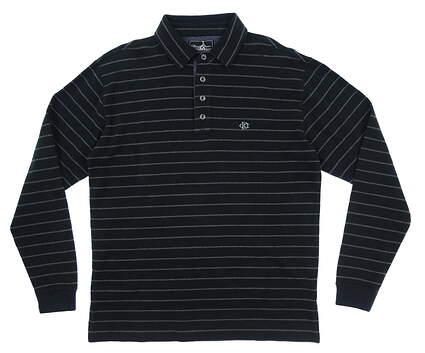 New W/ Logo Mens Straight Down Dornoch Long Sleeve Polo Medium M Black MSRP $120