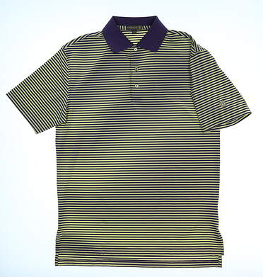 New W/ Logo Mens Peter Millar Summer Comfort Golf Polo Small S Yellow/Purple MSRP $85 MS16EK02