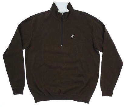 New W/ Logo Mens Straight Down Burnside 1/4 Zip Sweater Medium M Chocolate MSRP $108