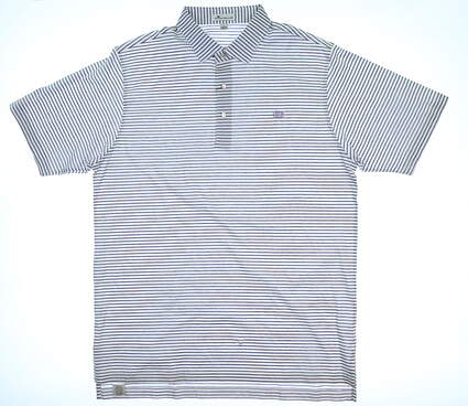 New W/ Logo Mens Peter Millar Polo Large L White/Monument Purple MSRP $95
