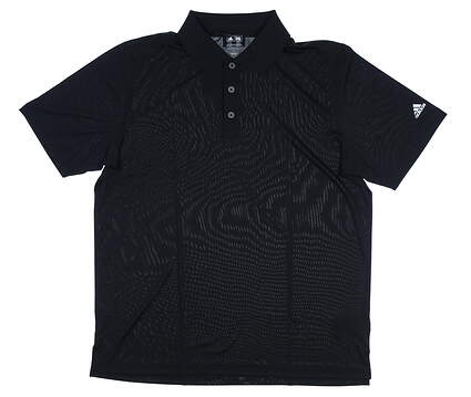 New Mens Adidas Solid Jersey Polo Large L Black MSRP $50 Z85723