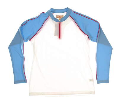 New Womens Sport Haley Brielle Tech LS Colorblock 1/4 Zip Pullover Medium M White/Light Blue MSRP $87