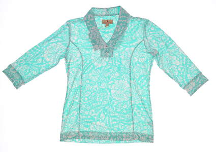 New Womens Sport Haley Jasmine Long Sleeve Polo Medium M White/Jade MSRP $85