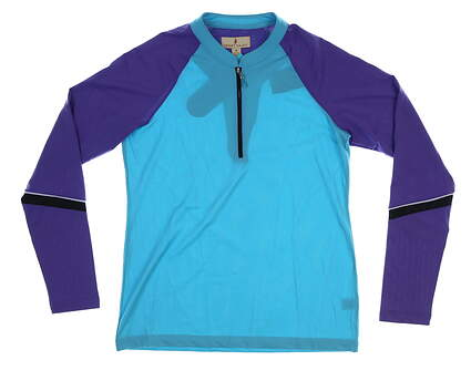 New Womens Sport Haley Suzita Cool LS Colorblock 1/4 Zip Pullover Aqua/Purple M Multi MSRP $87