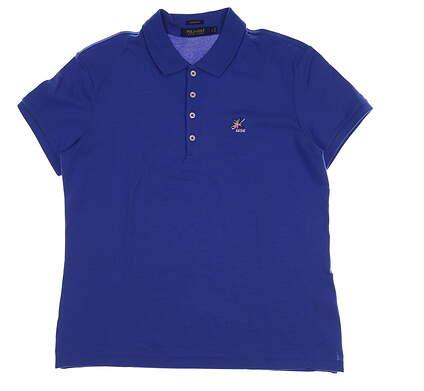 New W/ Logo Womens Ralph Lauren Golf Polo Large L Blue MSRP $85