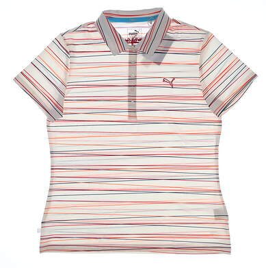 New W/ Logo Womens Puma Road Map Stripe Golf Polo Small S Rose Red MSRP $65 TC5398