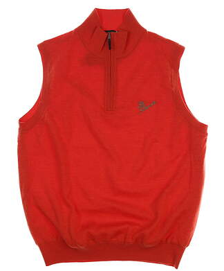 New W/ Logo Mens Fairway & Greene Merino 1/4 Zip Sweater Vest Medium M Flame 04116