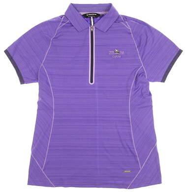 New W/ Logo Womens SUNICE Alison Coolite Golf Polo Medium M Iris/Lavender MSRP $74 841509