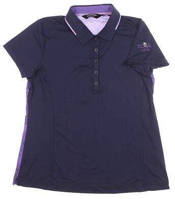 New W/ Logo Womens SUNICE Miriam Golf Polo Large L Navy/Purple MSRP $74 841504
