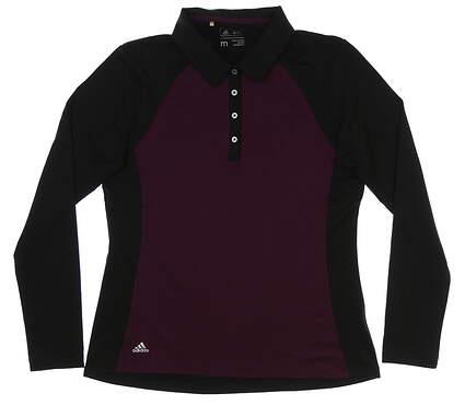 New Womens Adidas Long Sleeve Golf Polo Medium M Black/Purple MSRP $70 BC7004
