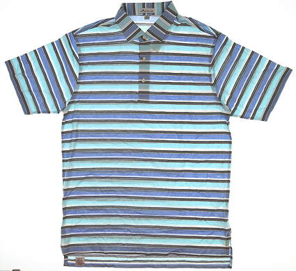 New Mens Peter Millar Striped Golf Polo Medium M Sailing Blue/White MSRP $95 MS17K06S