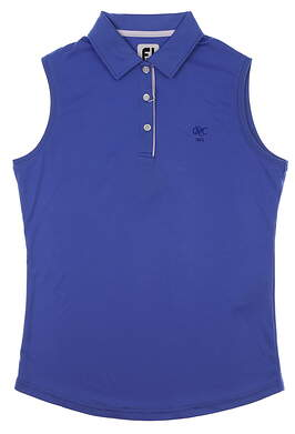New W/ Logo Womens Footjoy Solid Interlock Sleeveless Golf Polo Large L Blue MSRP $80