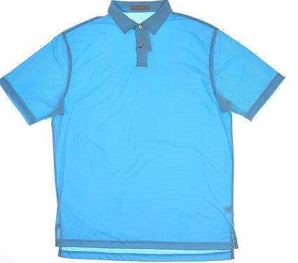 New Mens Peter Millar Melange Stripe Polo X-Large XL Light Blue/White MSRP $94