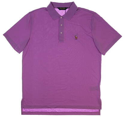 New Mens Peter Millar Featherweight Stripe Polo X-Large XL Purple/Red MSRP $99