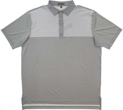 New Mens Peter Millar Oberlin Stripe Polo X-Large XL Gray/White MSRP $99