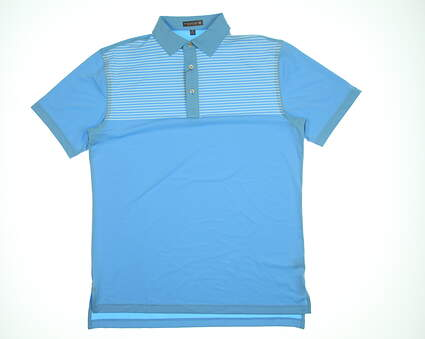 New Mens Peter Millar Oberlin Stripe Polo Medium M Blue MSRP $99