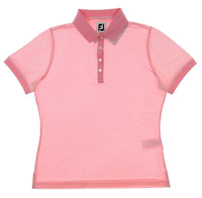 New Womens Footjoy ProDry Lisle Striped Polo Small S Pink/White MSRP $72