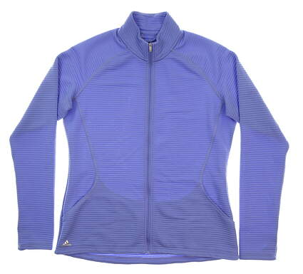 New Womens Adidas Essential 3-Stripes Layering Jacket Large L Periwinkle MSRP $65