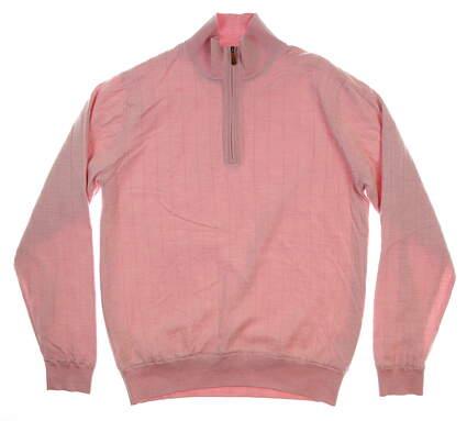 New Mens Bobby Jones Merino 1/4 Zip Sweater Medium M Pink MSRP $200