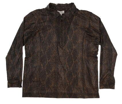 New Womens Sport Haley Long Sleeve Print Polo X-Large XL Brown MSRP $90