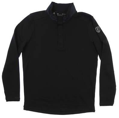 New W/ Logo Mens Under Armour Storm Sweater Fleece Snap Mock Medium M Black MSRP $75