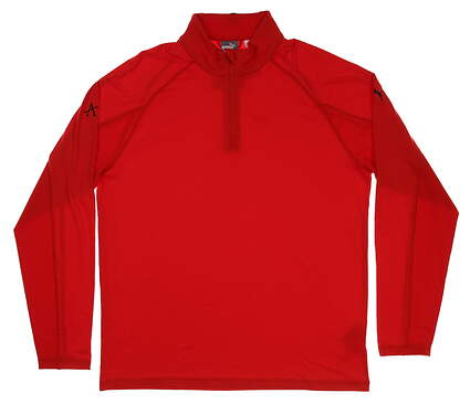 New W/ Logo Mens Puma Core 1/4 Zip Pullover Large L Red MSRP $65