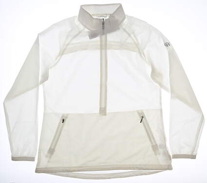 New W/ Logo Womens Cutter & Buck 1/2 Zip Pullover Large L White MSRP $85