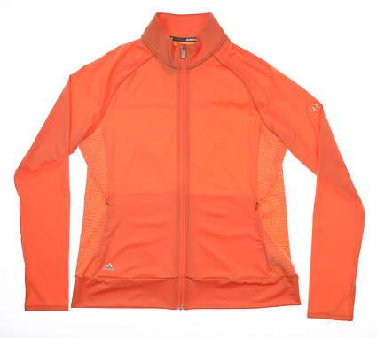 New W/ Logo Womens Adidas Rangewear Golf Full Zip Mock Neck Large L Coral MSRP $75 CE0551