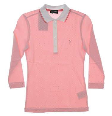 New Womens Golfino The Bubble 3/4 Sleeve Golf Polo XX-Small XXS Pink/White MSRP $130 2338521