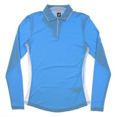 New Womens Footjoy Long Sleeve Zip Sun Shirt Golf Polo X-Small XS Sky/White MSRP $88 27564