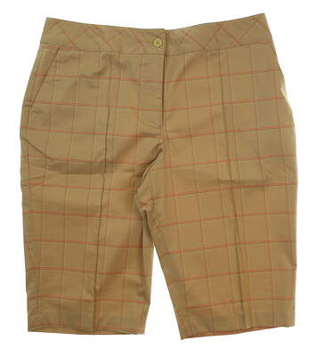 New Womens EP Pro From Afar Golf Shorts Size 14 Praline Multi MSRP $80