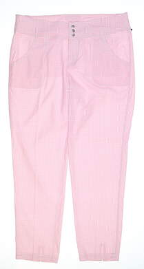 New Womens Jo Fit Belted Cropped Golf Pants Size 8 Pink/White MSRP $108 GB510-BLC