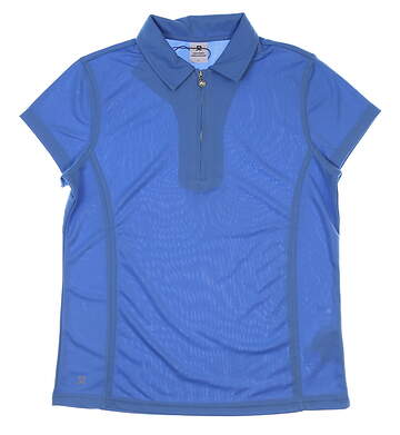 New Womens Daily Sports Macy Cap Sleeve Zip-Up Golf Polo Large L Heaven MSRP $64 843/101