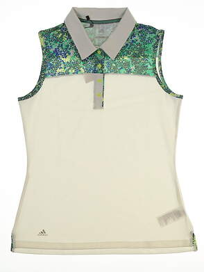 New Womens Adidas Merch Sleeveless Polo Small S White MSRP $68 CD3481