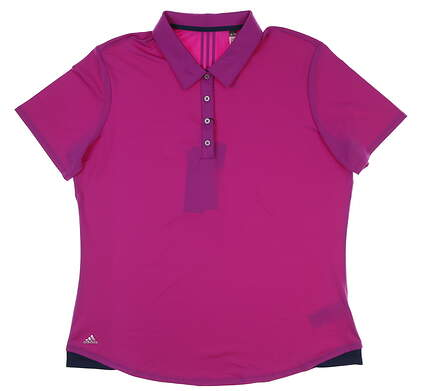 New Womens Adidas ClimaLite Essential 3-Stripes Long Sleeve Golf Polo X-Large XL Purple MSRP $65