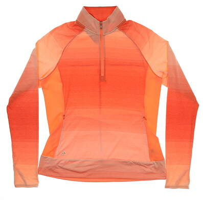 New Womens Adidas 1/2 Zip Golf Pullover Medium M Coral MSRP $79 CE2994