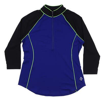 New Womens Jo Fit 3/4 Sleeve Raglan Zip Mock Medium M Blue/Black/Green MSRP $80 GT127-BBY